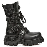 New Rock Black Skull Lace Up Boots