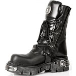 New Rock Silver Skull Buckle Lace Up Boots