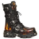 New Rock Calf Length Flame Lace Up Boots