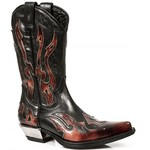 New Rock Cowboy Red Flame Boots