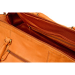 Woodland Leather Tan Large Size Travel Holdall With Adjustable Shoulder Strap
