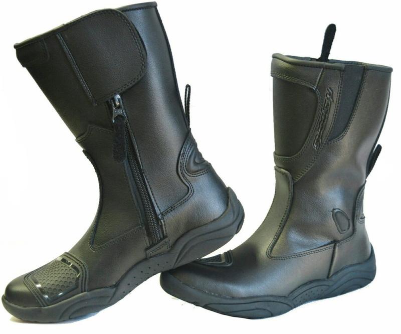 Ladies Black Leather Water Resistant Motorbike Boots