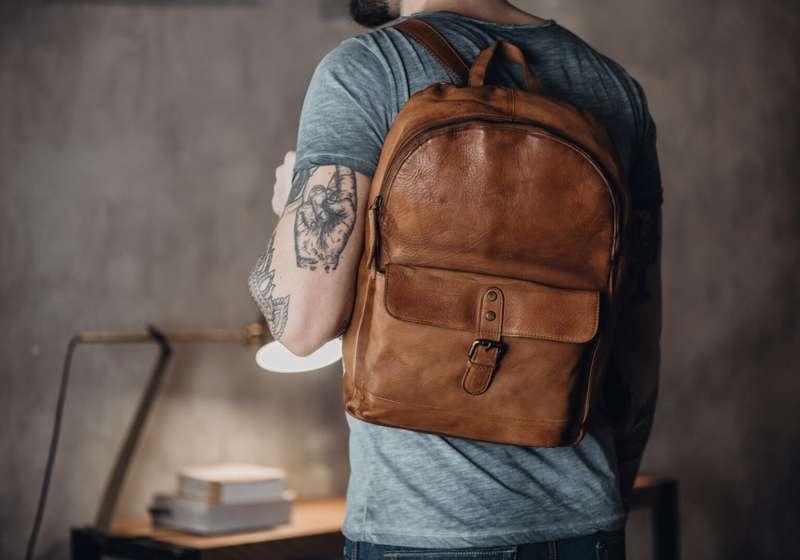 Unisex Tan Leather Rucksack