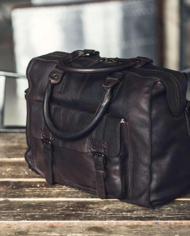 Men's Brown Leather Vintage Weekend Holdall
