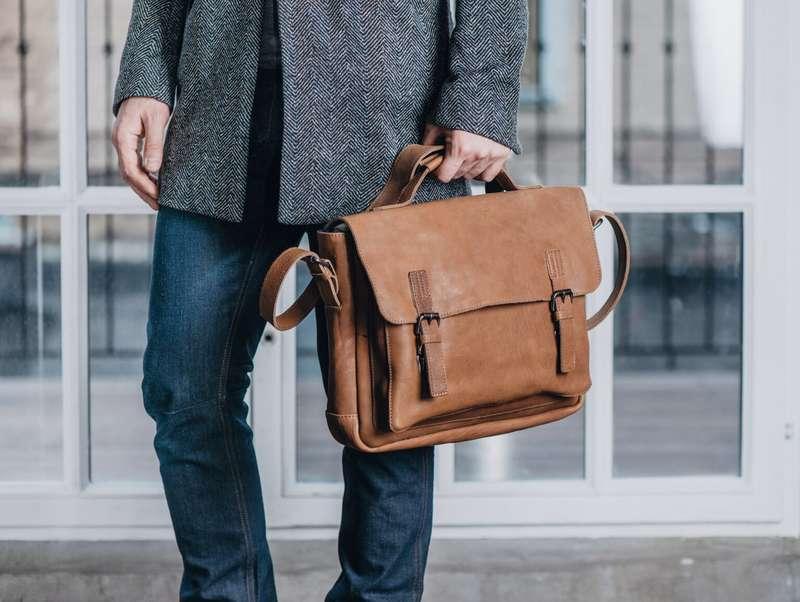 Men's Tan Leather Vintage Messenger Bag