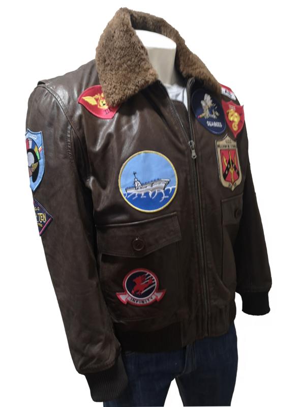 Men's Brown Nubuck Aviator Pilot Flight A2 Top Gun Style Leather Jacket With Patch Detail