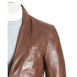 Men's Tailored Brown Leather Blazer