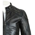 Mens Vintage Antique Black Leather Biker Style Jacket