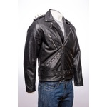 Men's Black Cow Hide Brando Style Jacket With Spike Detail
