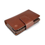 "Hautton Leather Coffee Luxury Large 8.0"" Clutch Style Wallet"
