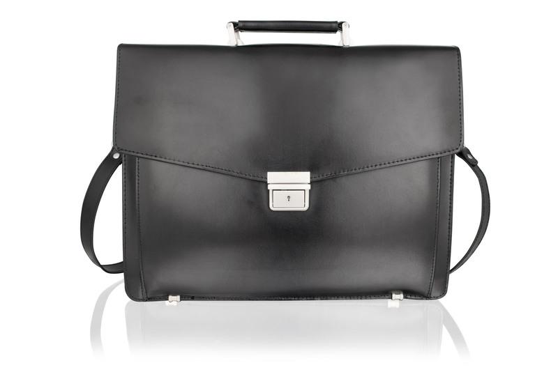 """Lombard 15.0"""" Black Satchel Briefcase Landscape, Flap Over With Central Zip Adjustable Shoulder Strap"""