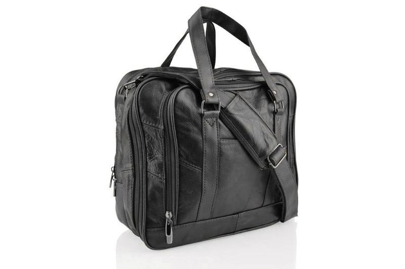"Lorenz 12.5"" Leather Black Tote Bag"