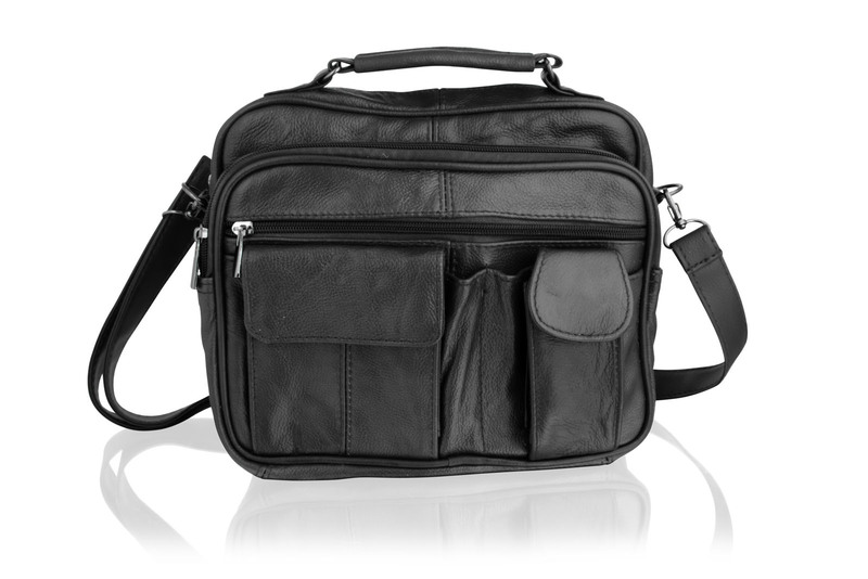 Leather Multi Black Pocket Medium Size Travel Bag