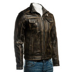 Men's Black Vintage Biker Style Leather Jacket