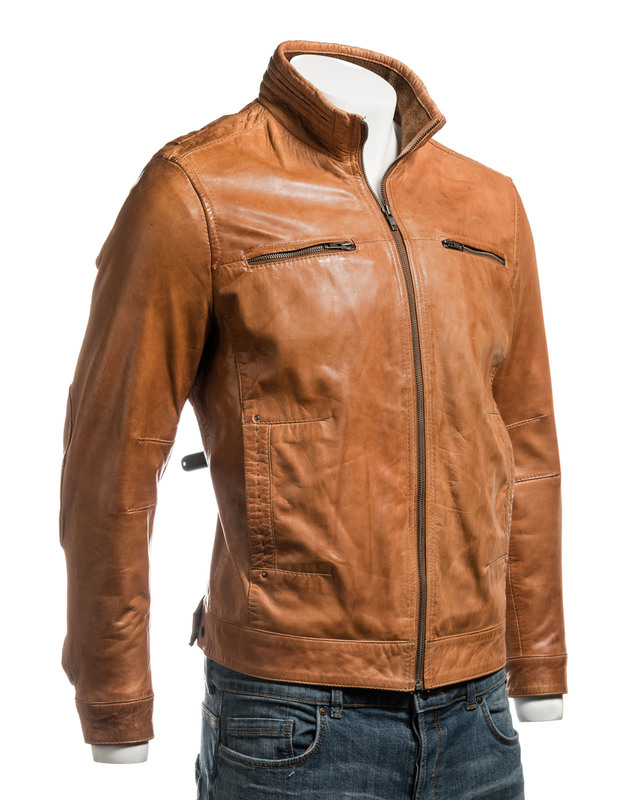 Men's Tan Funnel Neck Leather Jacket