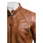 Men's Tan Vintage Biker Style Leather Jacket With Shoulder Detail