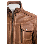 Men's Tan Vintage Biker Style Leather Jacket