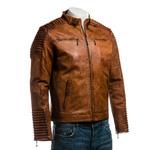 Men's Cognac Antiqued Racer Style Leather Jacket