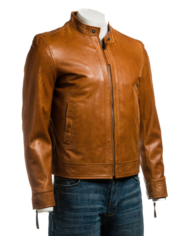 Men's Tan Micro-Perforated Short Zipped Leather Jacket