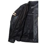 Men's Black Removable Armour Plated Cow Hide Leather Biker Jacket