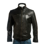 Men's Black Funnel Neck Leather Jacket