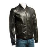 Men's Black Rib-Knit Collar Leather Bomber