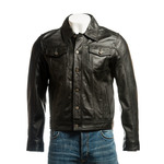 Men's Black Denim Style Leather Jacket