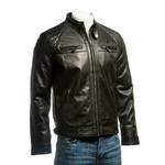 Men's Black Diamond Shoulder Biker Style Leather Jacket