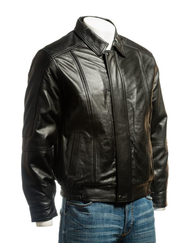 Men's Black Simple Blouson Style Leather Jacket