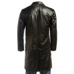 Men's Black Three Quarter Length Leather Coat