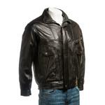 Men's Black Pocket Detail Blouson Style Leather Jacket