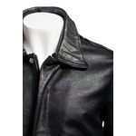 Men's Black Aviator Pilot Flight A2 Style Leather Jacket with Detachable Real Sheepskin Collar