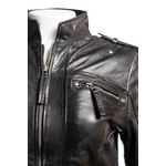 Ladies Black Fitted Biker Style Leather Jacket