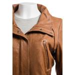 Ladies Tan Parka Soft Nappa 3/4 Leather Coat