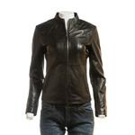 Ladies Brown Plain Short Zipped Leather Jacket